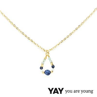 YAY You Are Young 法國品牌 Cleo 藍寶石項鍊 水滴墜設計 金色
