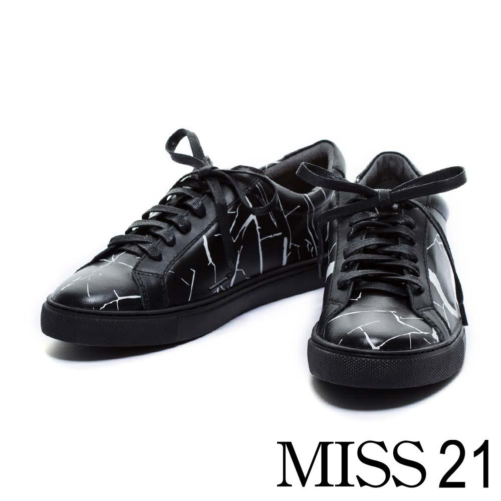 休閒鞋MISS 21 簡約時尚情侶鞋款牛皮綁帶休閒男鞋-黑