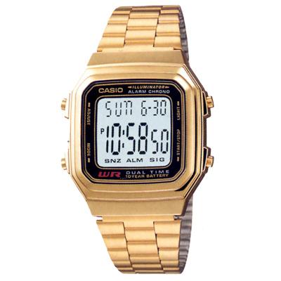 CASIO 時尚都會數字錶(A178WGA-1A)-金色