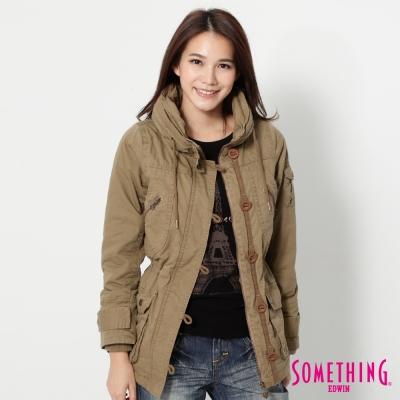 SOMETHING-毛裡舖棉軍裝外套-女-灰卡其