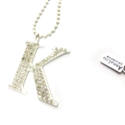 Anna Lou Of London 倫敦品牌 水晶字母項鍊 K 白色