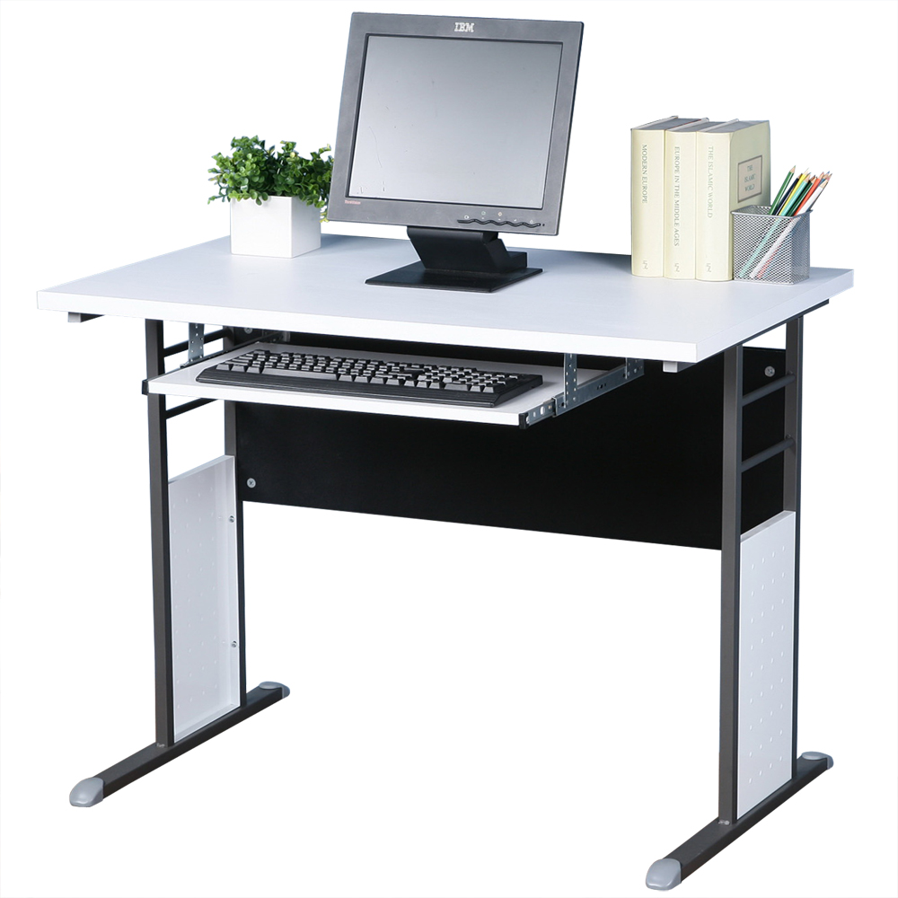 Homelike 巧思100x60辦公桌(附鍵盤)-白桌面/炫灰桌腳