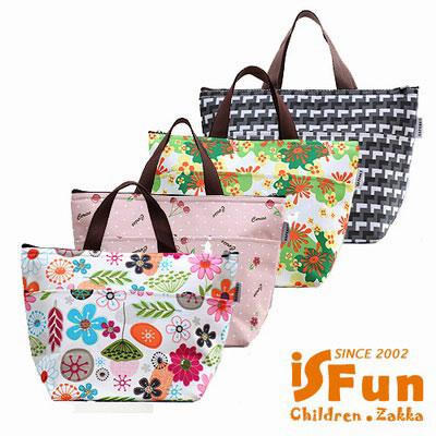 iSFun 繽紛花卉 手提保冷保溫便當包