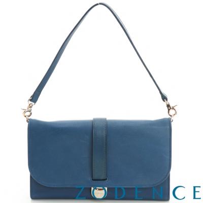 ZODENCE-彩色牛皮系典雅舌扣手拎包長夾-藍