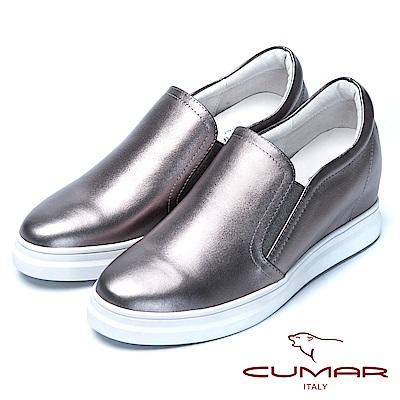 CUMAR舒適樂活嚴選真皮內增高休閒鞋-槍