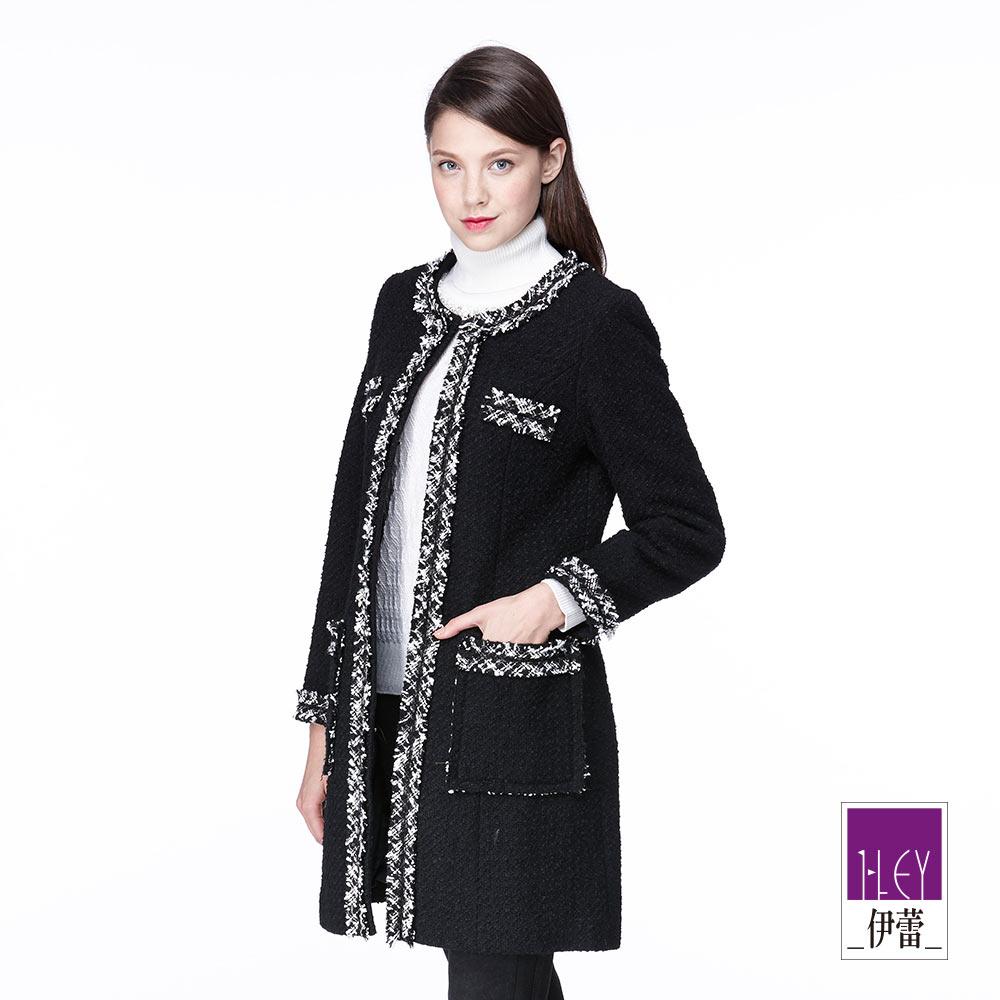 ILEY伊蕾 簡約時尚混羊毛長版外套(黑)