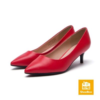 鞋櫃ShoeBox-高跟鞋-霧面經典款尖頭高跟鞋-紅