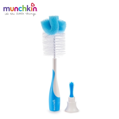 munchkin滿趣健-二合一奶瓶奶嘴刷-藍