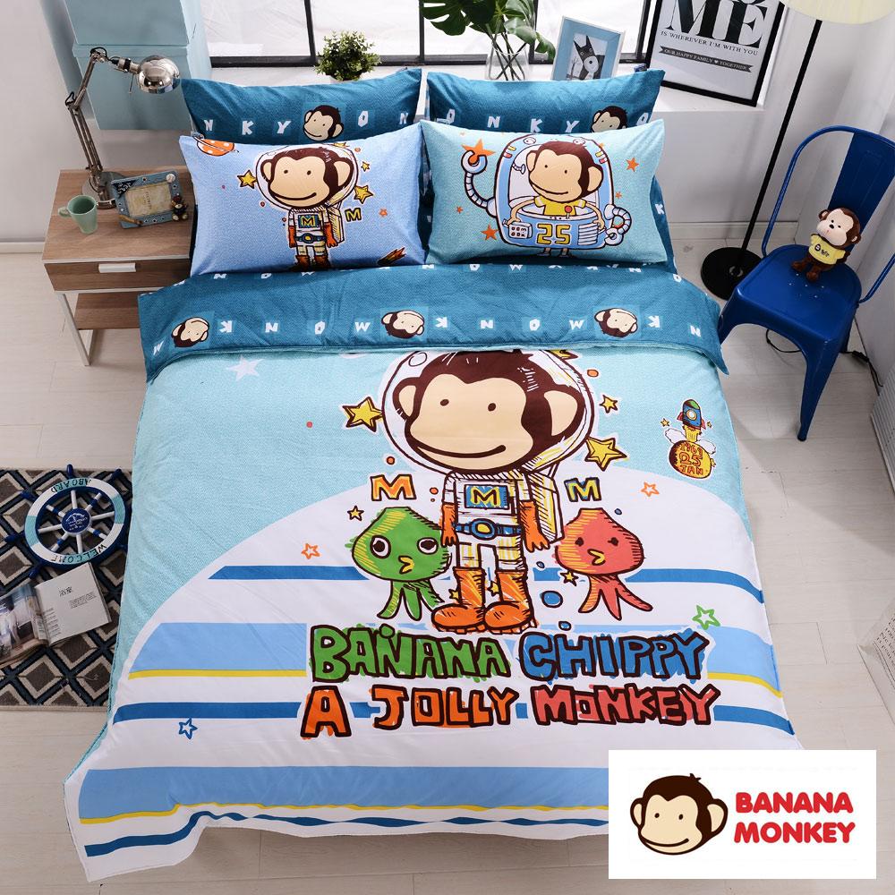 BANANA MONKEY猴子大王 獨家印花大版面法藍紗單人床包二件組-星際奇航