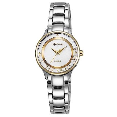 LICORNE 力抗錶 永恆時光真鑽系列 天使光環璀璨手錶 白x金/30mm