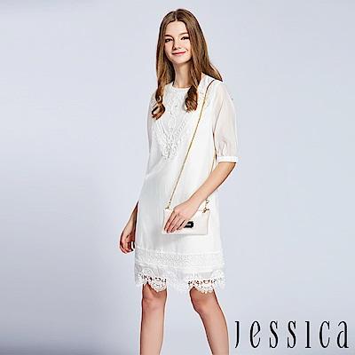 JESSICA - 時尚細緻蕾絲拼接洋裝(白)