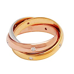 Cartier 卡地亞TRINITY DE CARTIER三色金環造型18K鑲鑽婚戒(#5