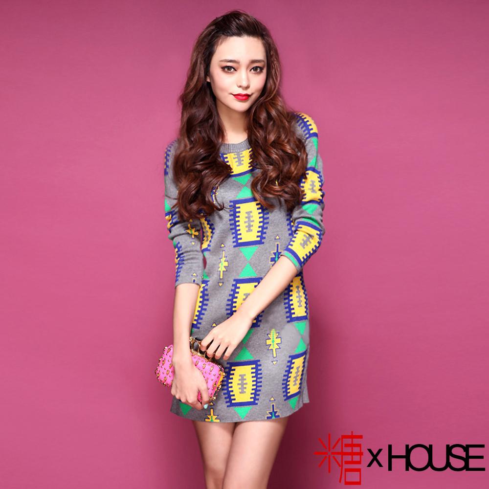 【糖 x House】幾何圖騰螺紋針織連身裙 (灰色)