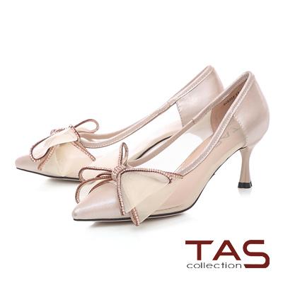 TAS透膚感網紗蝴蝶結尖頭跟鞋-清感米