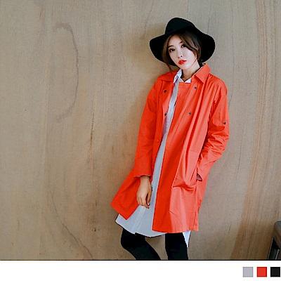 素色質感小翻領排釦長版風衣外套.3色-OB嚴選