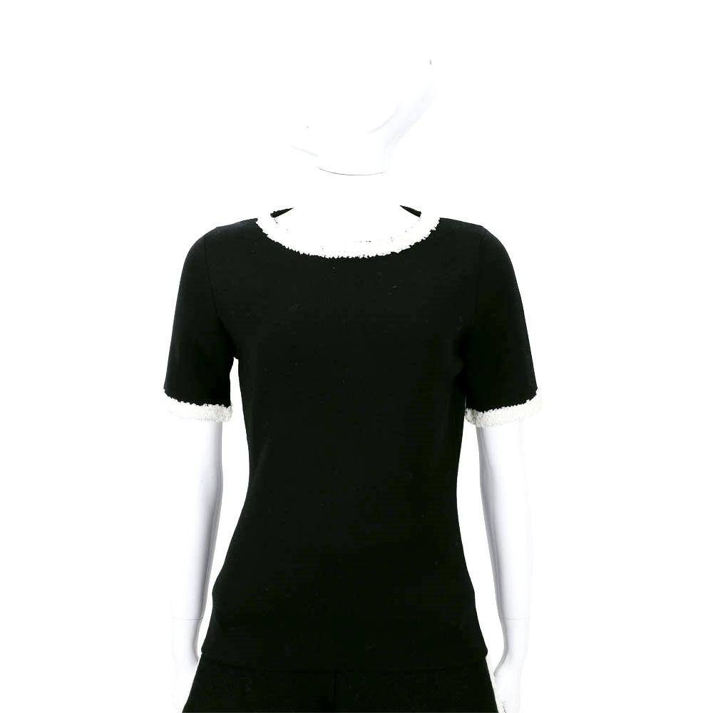 BOUTIQUE MOSCHINO 黑色皺褶蕾絲羊毛短袖上衣