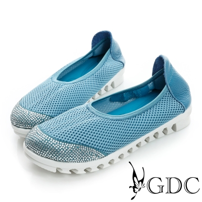 GDC舒適-柔軟彈性厚底懶人休閒鞋-藍色