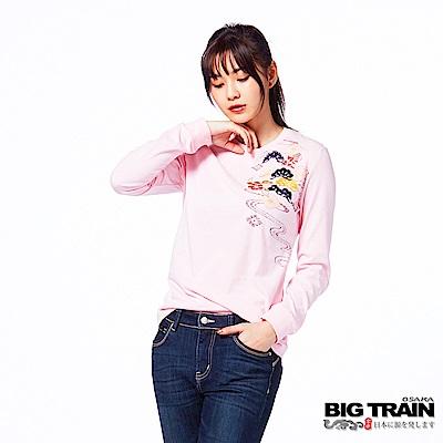 BIG TRAIN 松嵐小金魚束口長袖-女-粉紅˙