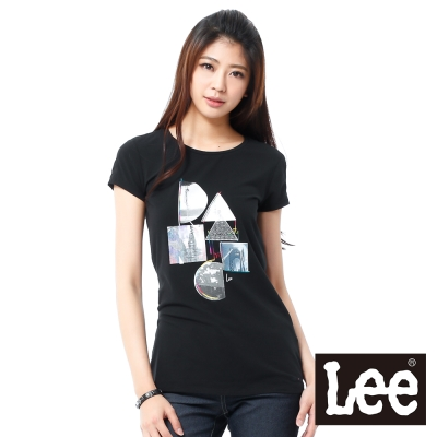 Lee 短袖T恤 紗布拼接幾何圖型印刷 -女款(黑)