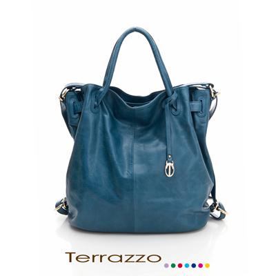 義大利Terrazzo - 暢銷款高質感牛皮多功能後背包 - 藍色 23J0012