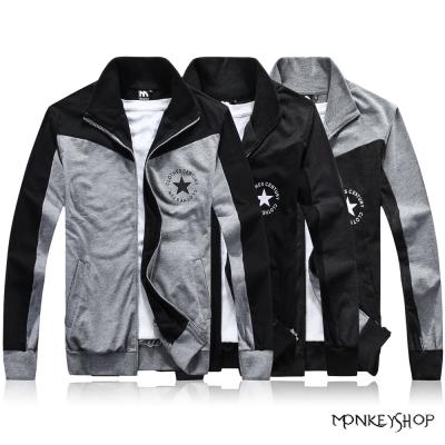小猴子的賣場 立領外套胸口星星拼接棉質設計立領棉質外套-3色