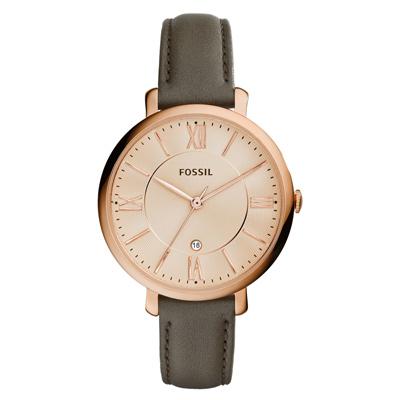 FOSSIL 網羅質感日期時尚腕錶-玫瑰金x灰皮帶-/36mm