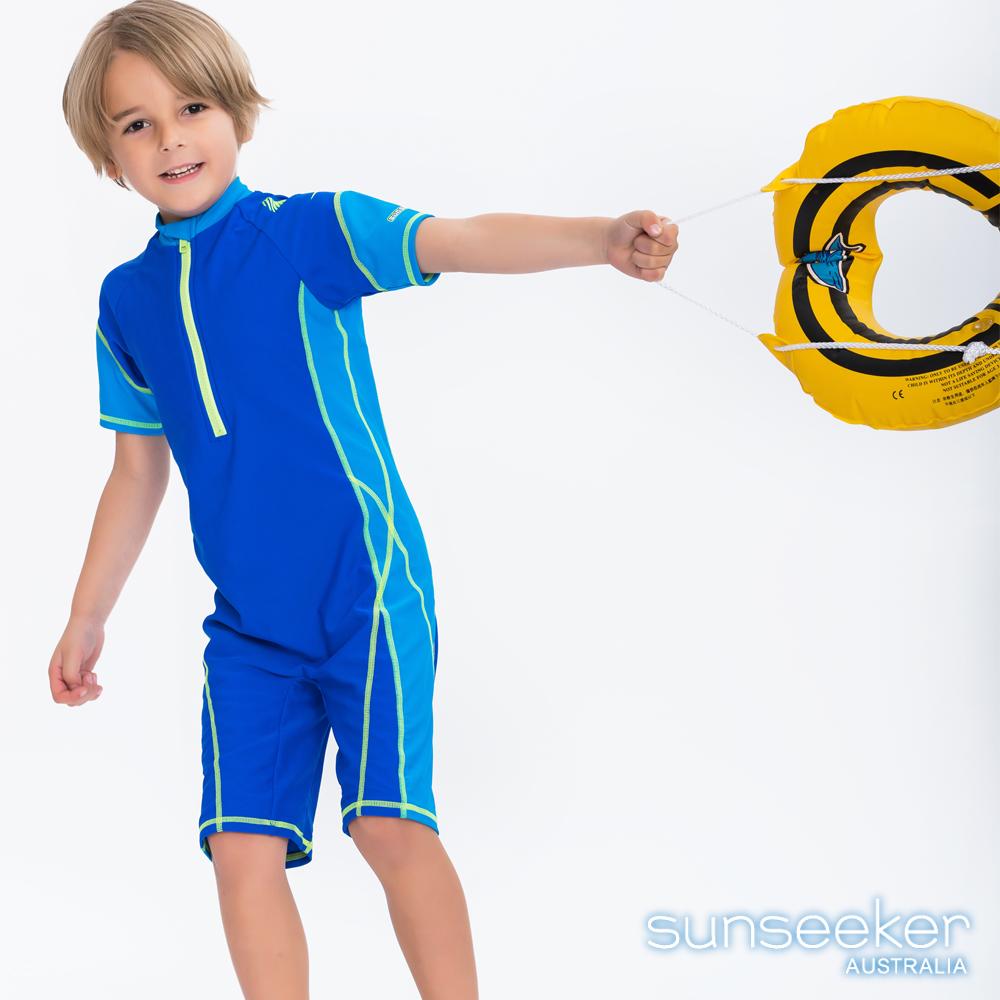澳洲Sunseeker抗UV防曬短袖連身式泳衣-小男童寶藍