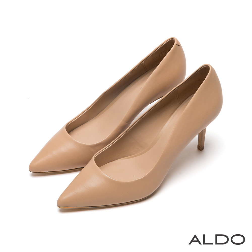 ALDO 原色霧面實搭尖形流線高跟鞋~氣質裸色8H