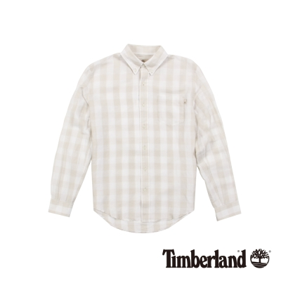 Timberland 男款淡咖啡格紋休閒口袋襯衫