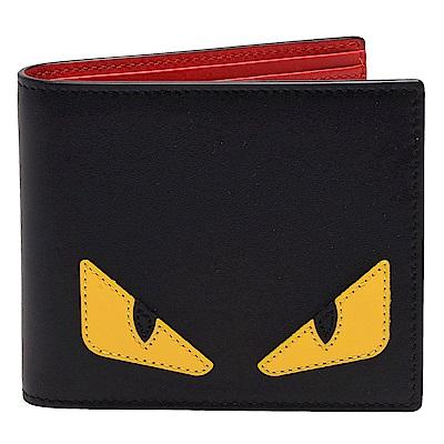 FENDI 經典BUGS系列小毛怪造型小牛皮對摺短夾(黑X紅)