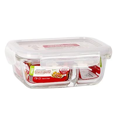 樂扣樂扣 耐熱分隔玻璃保鮮盒-長方形320ML(8H)