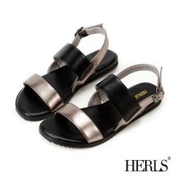 HERLS 極簡原色一字寬版繫帶涼鞋-黑色
