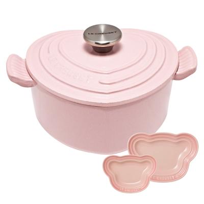 琺瑯鑄鐵愛心鍋-甜心粉-鋼頭-嬰兒小熊盤-2入-粉