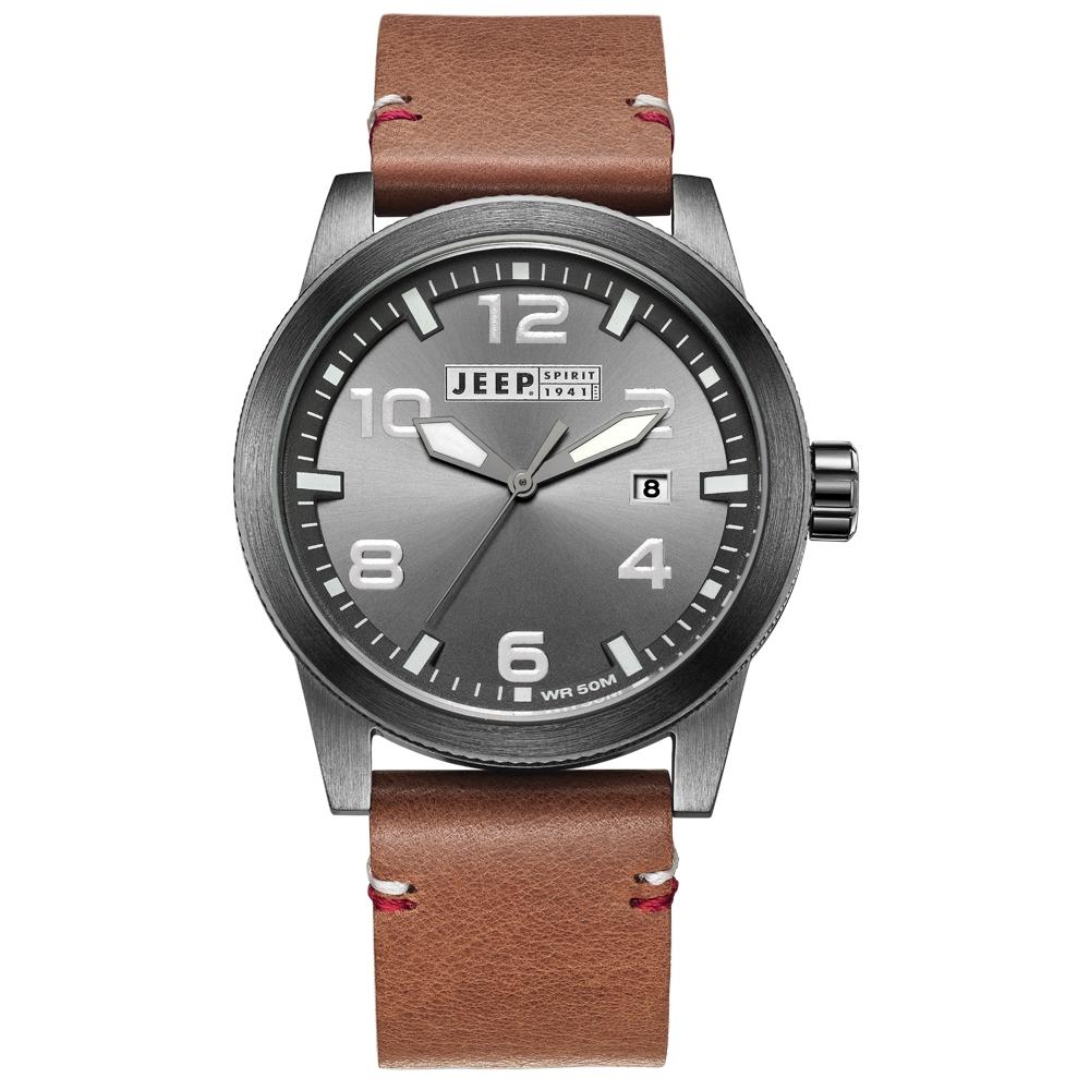 Jeep Spirit 簡約休閒系列時尚手錶-灰面/棕色帶-46mm