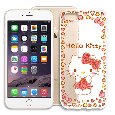 Hello Kitty iPhone 8/iPhone 7 浮雕彩繪透明軟殼(甜...
