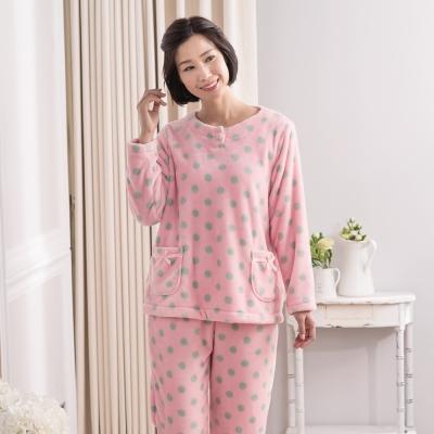 華歌爾睡衣 法蘭絨印花居家服M-L兩件式睡衣(點點粉)