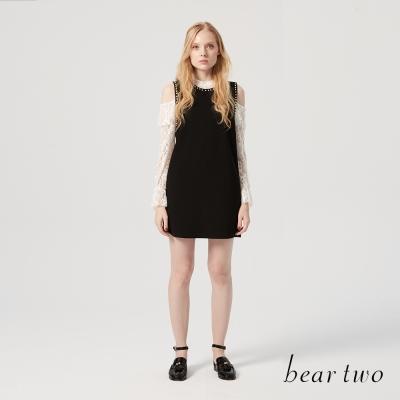 beartwo 優雅率性珍珠裝飾背心連身裙(二色)-動態show