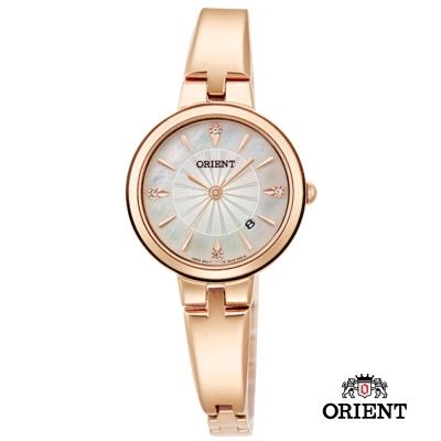 ORIENT 東方錶 DRESS系列 簡約優雅女錶-珠貝x玫瑰金色/26mm