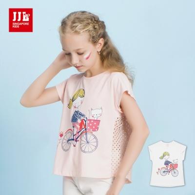 JJLKIDS 騎單車女孩蕾絲鏤空T恤(2色)