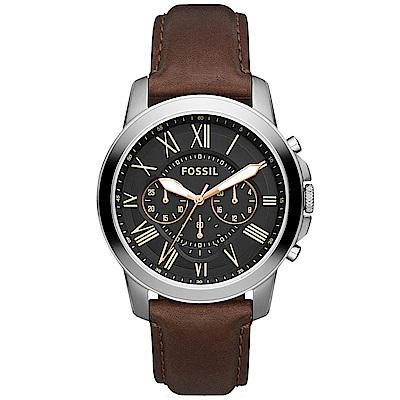 FOSSIL 英倫復刻時代三眼計時腕錶-黑/44mm