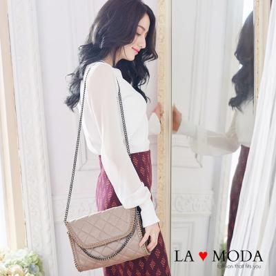 La Moda 歐美金屬邊鏈條系列 - 方形菱格隨身包(杏)