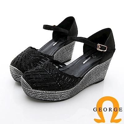GEORGE 喬治-簍空真皮扣環厚底涼鞋楔型鞋-黑