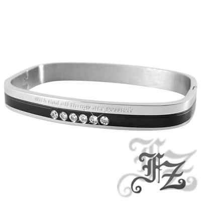 FZ  永恆摯愛白鋼手環(黑色)