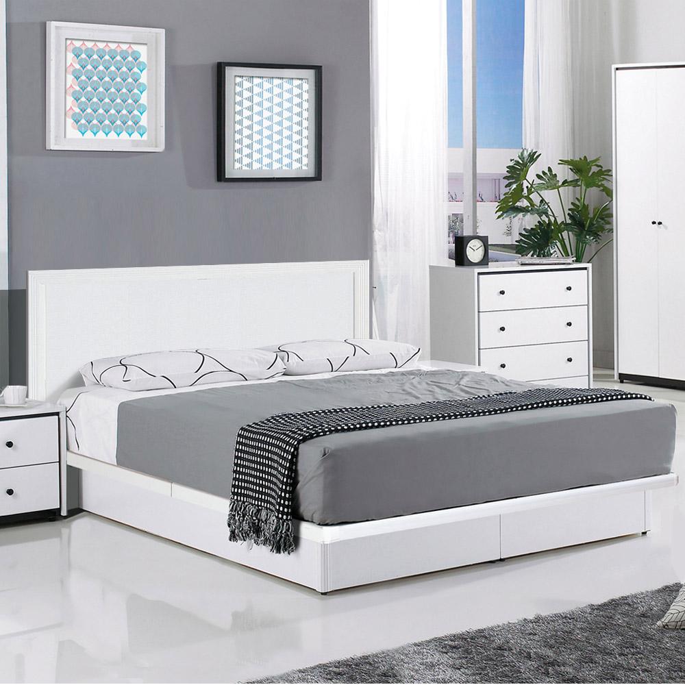群居空間 畢斯卡5尺掀床房間組 床頭片+掀床+床墊 純白色