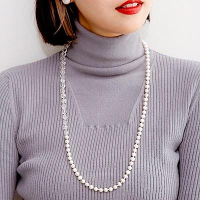 Luce Costante bianco系列水晶珍珠長鍊