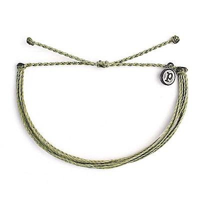 Pura Vida 美國手工 SOLID SAG GREEN 草綠色可調式手繩