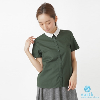 earth music 鑽飾拼接白領襯衫
