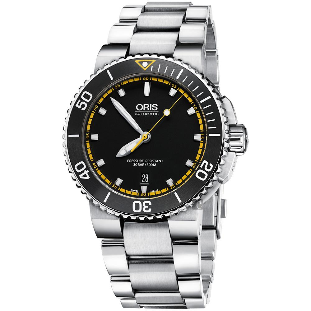 Oris豪利時 Aquis 時間之海300米潛水機械錶-黑x黃圈/43mm