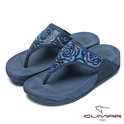CUMAR樂活時尚花朵水鑽排列超舒適厚底夾腳鞋-藍色