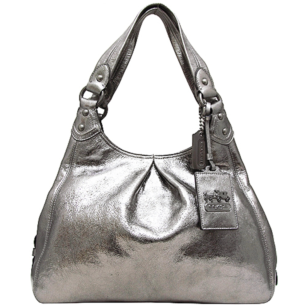 COACH晶亮皮革三夾層側肩背包-銀